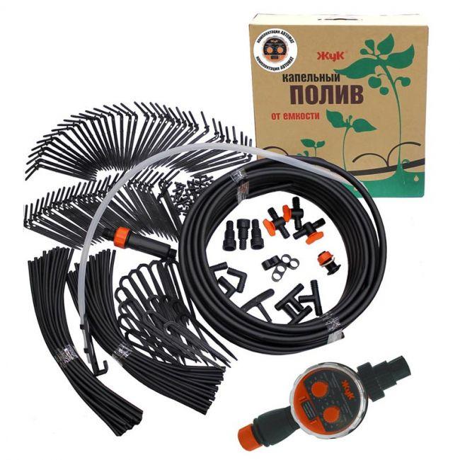 Капельный полив от емкости Жук 60 растений Автомат (тепличный)