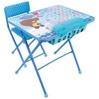 Комплект Маша и медведь (стол, пенал, стул мягкий) складной