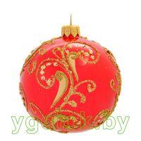 Новогодний шар 8 см А-91 красный опал (ручная работа)
