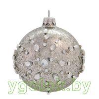 Новогодний шар 8 см 21136 серебряный (ручная работа)