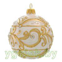Новогодний шар 8 см Д-263 белый опал (ручная работа)