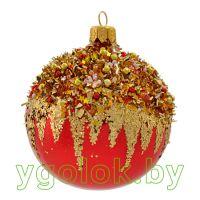 Новогодний шар 8 см Д-215 красный (ручная работа)