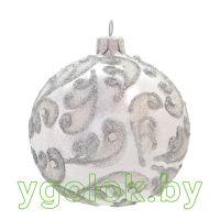 Новогодний шар 8 см Д-154 белый опал (ручная работа)