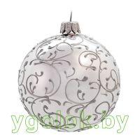Новогодний шар 8 см Д-131 серебряный глянцевый (ручная работа)