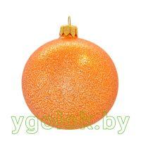 Новогодний шар 8 см глитер персик (ручная работа)