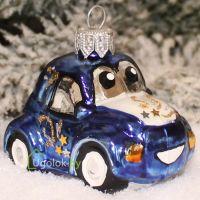Ёлочная игрушка Машинка синяя (ручная работа)