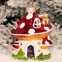 Ёлочное украшение Грибок-домик бело-красный (ручная работа)