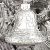 Ёлочная игрушка Колокольчик серебро (ручная работа)