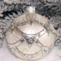 Ёлочный шар 8 см Д-335 серебро (ручная работа)