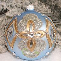 Новогодний шар 8 см Д-348 голубой (ручная работа)