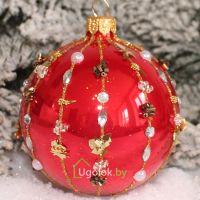 Новогодний шар 8 см Д-239 красный опал (ручная работа)