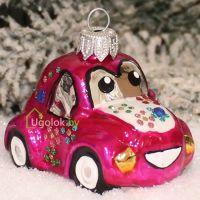 Ёлочная игрушка Машинка розовая (ручная работа)