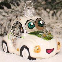 Ёлочная игрушка Машинка белая (ручная работа)