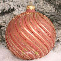 Новогодний шар 8 см Д-328 шоколадно-розовый (ручная работа)