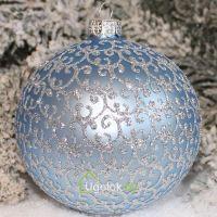 Шар ёлочный 8 см Д-33 голубой матовый (ручная работа)