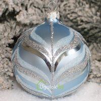 Новогодний шар 8 см Д-376 голубой матовый (ручная работа)