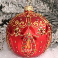 Ёлочный шар 8 см Д-322 красный (ручная работа)