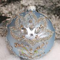 Новогодний шар 8 см Д-368 голубой матовый (ручная работа)
