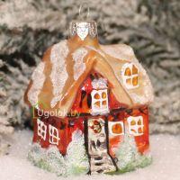 Ёлочное украшение Домик оранжево-бежевый (ручная работа)