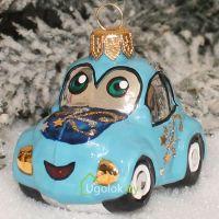 Ёлочная игрушка Машинка голубая (ручная работа)