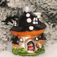 Ёлочное украшение Грибок-домик серо-чёрный (ручная работа)