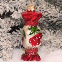 Ёлочная игрушка Конфетка вишня (ручная работа)