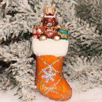 Ёлочная игрушка Носочек оранжевый (ручная работа)