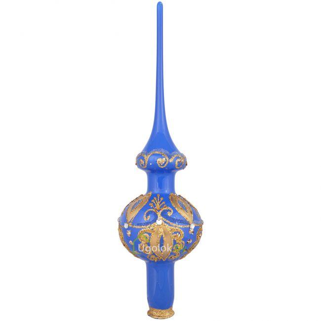Стеклянная верхушка на ёлку синяя (ручная работа)