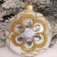 Новогодний шар 8 см Д-342 белый опал золото (ручная работа)