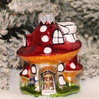 Ёлочное украшение Грибок-домик серо-красный (ручная работа)