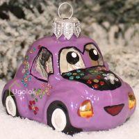 Ёлочная игрушка Машинка фиолетовая (ручная работа)