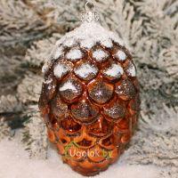 Новогоднее украшение Шишка сосновая медь с белым (ручная работа)