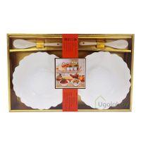 Набор подарочный из фарфора XD-2022-2S (2 салатницы, 2 ложки)