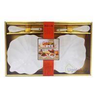 Набор подарочный из фарфора XD-2020-2S (2 салатницы, 2 ложки)