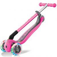 Самокат со светящимися колёсами Globber Primo Foldable Lights (розовый)