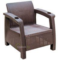 Кресло Ротанг 73x70x79 см без подушек (шоколад)