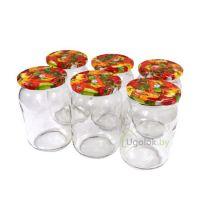 Набор стеклянных банок 900 мл с цветными крышками (6 штук)